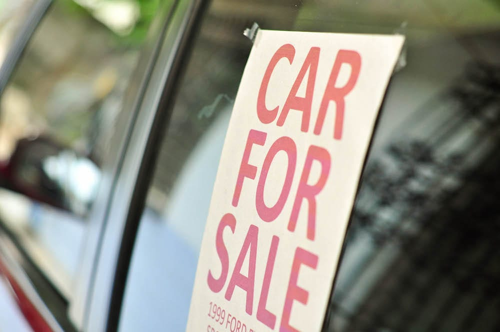 car for sale sign