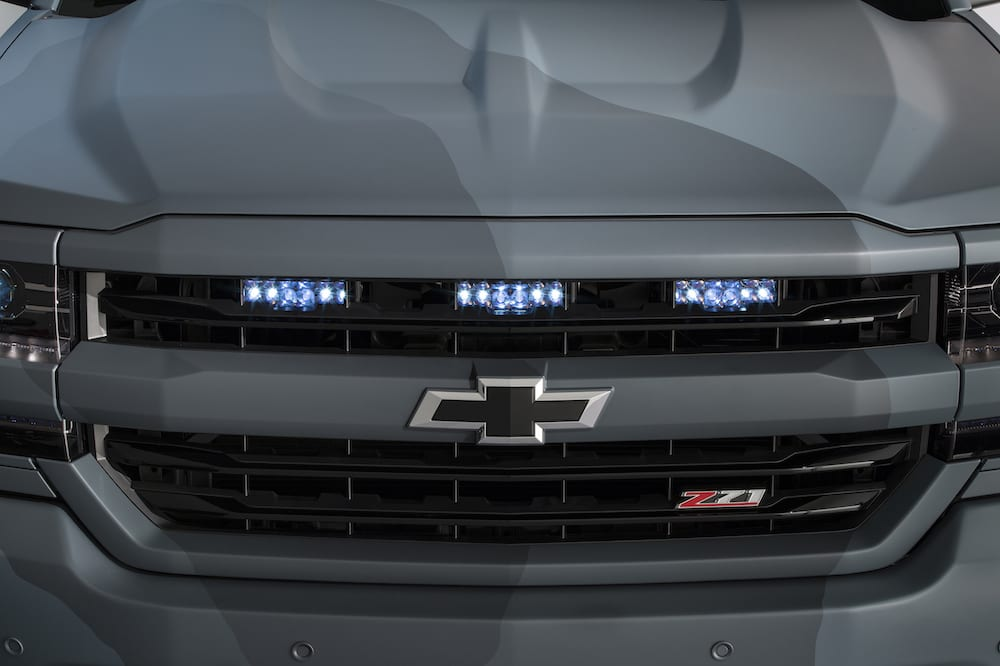 Chevrolet's 2016 Silverado Special Ops concept is based on the Silverado 1500 Z71, which features a new front-end design and new technologies built into its strong, high strength steel body structure and fully boxed frame, and draws its design inspiration from naval design aesthetics.